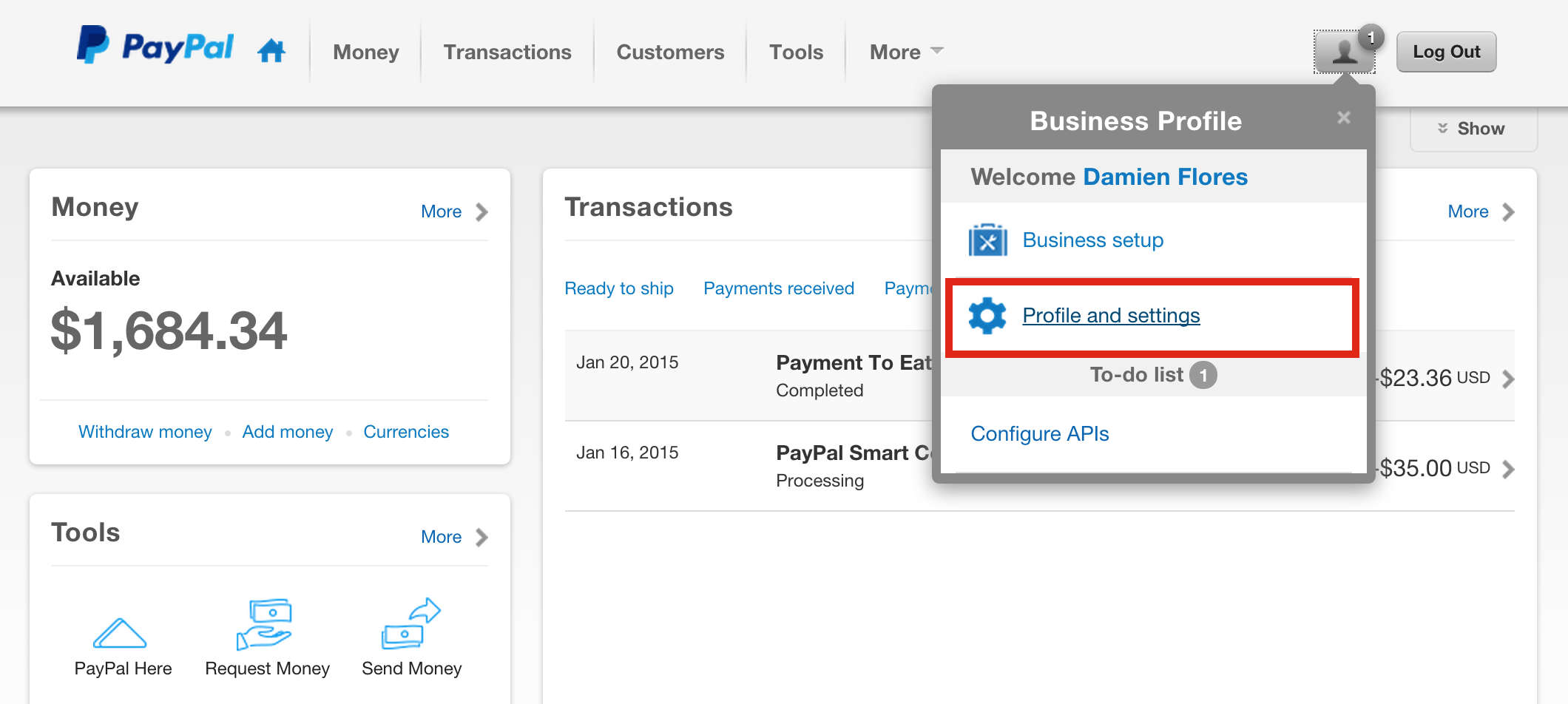 paypal business account features