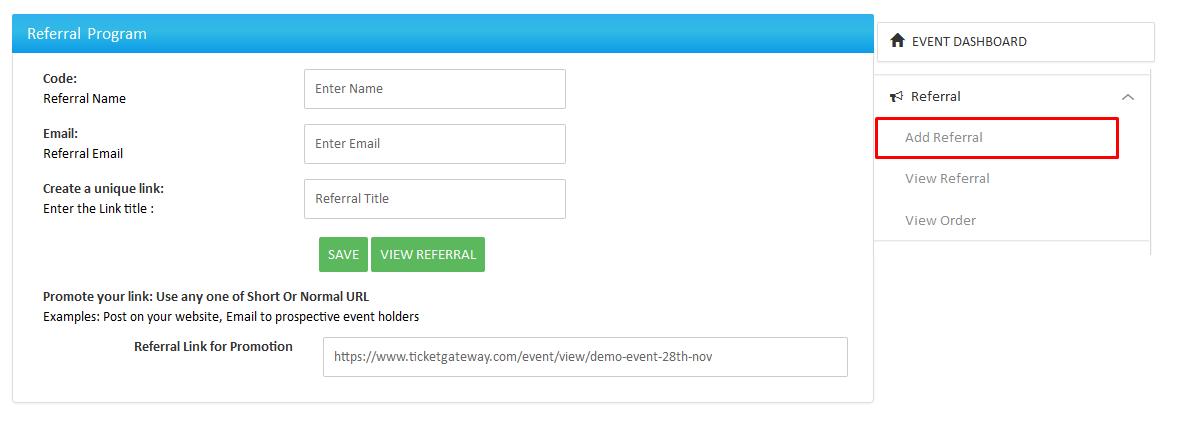 Event Dashboard : Ticketgateway