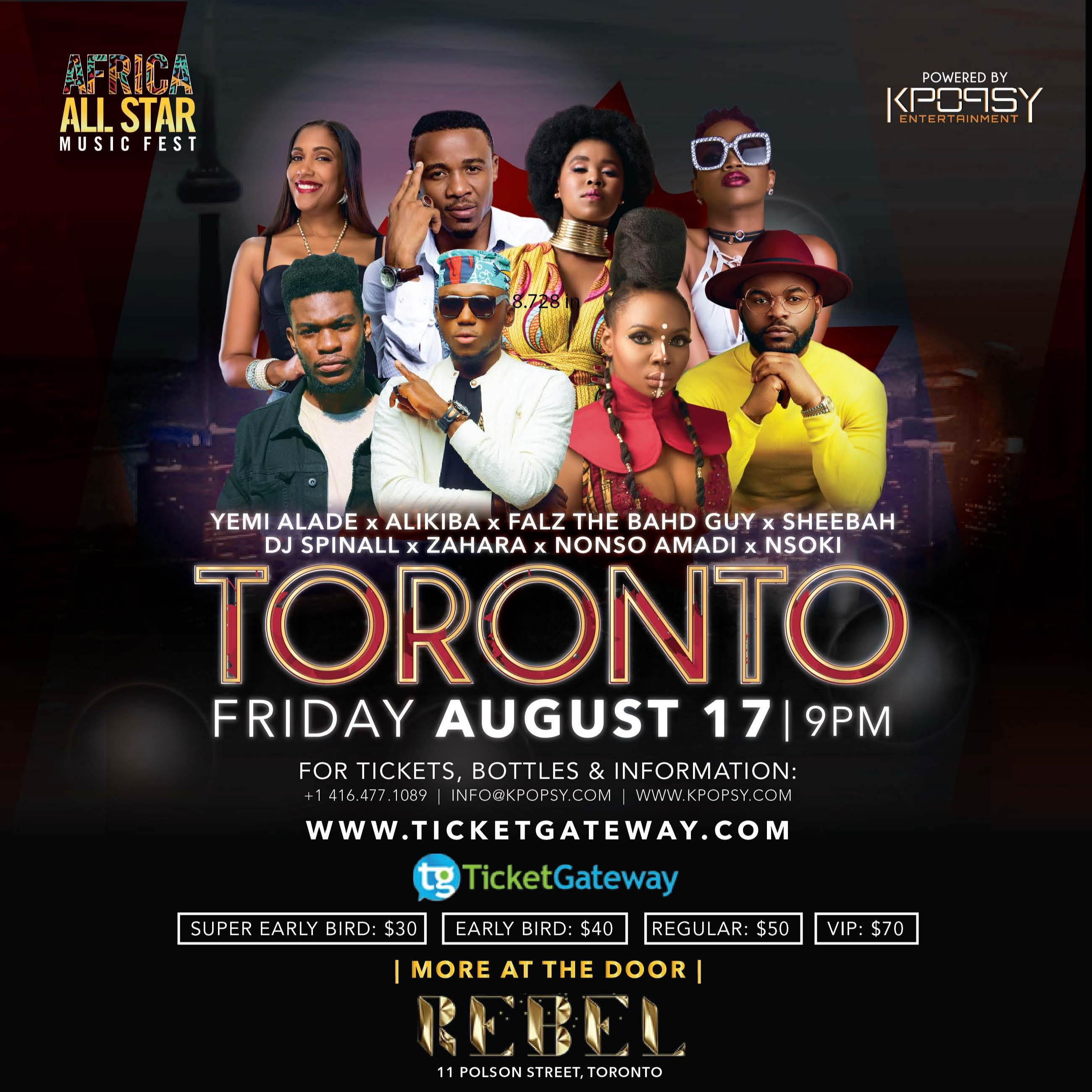 Africa All Star Music Fest - Yemi Alade Alikiba Falz Sheebah Spinall Zahara