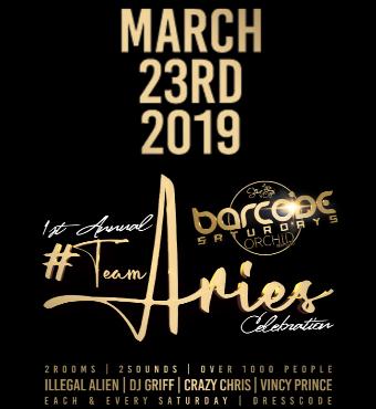 1st Annual Team Aries Celebration - Barcode Saturdays
