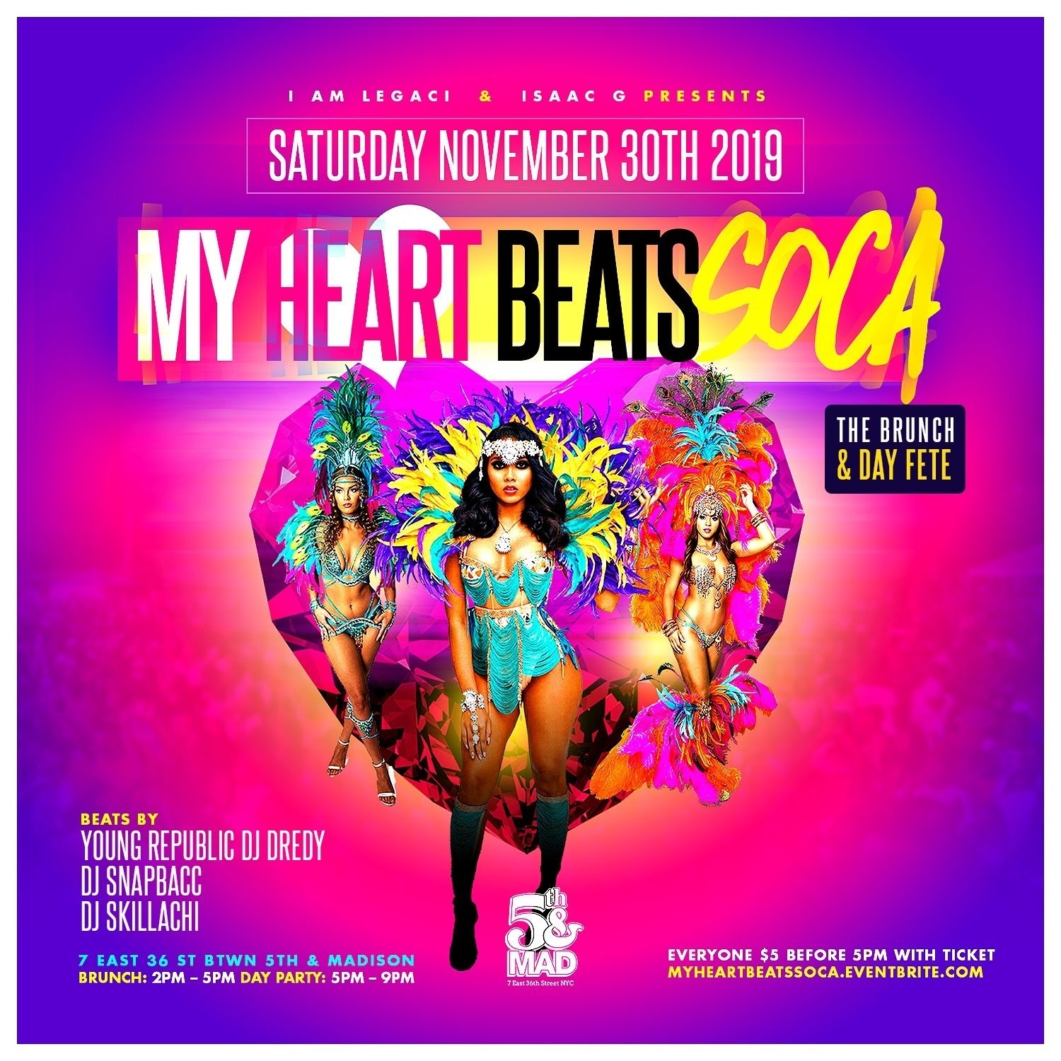 MY HEART BEATS SOCA 11/30 Brunch & Day Fete limited $5 Tickets