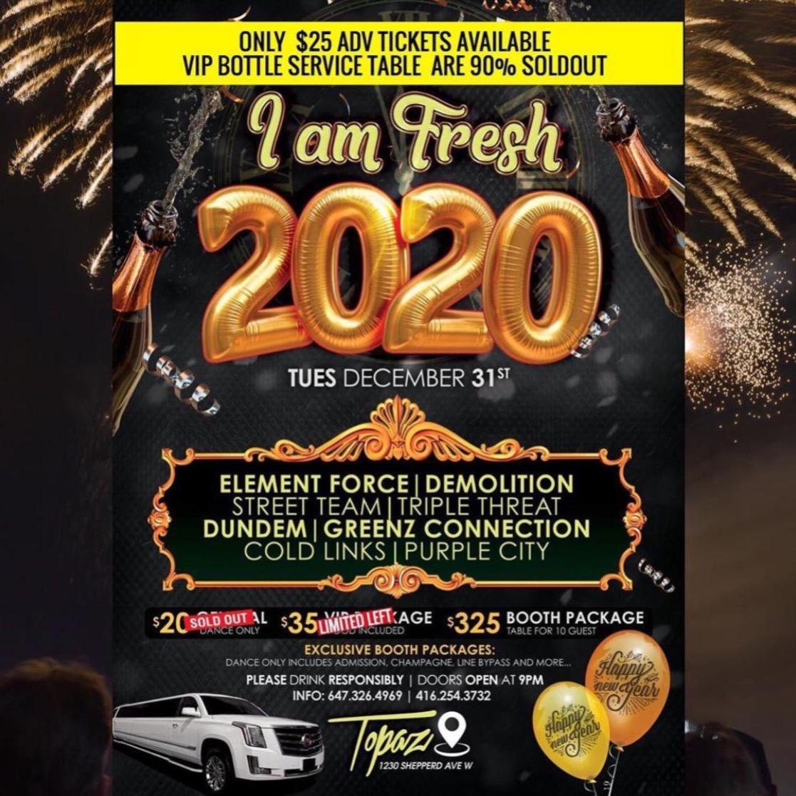 NYE 2020 DEC 31ST | TOPAZ LOUNGE