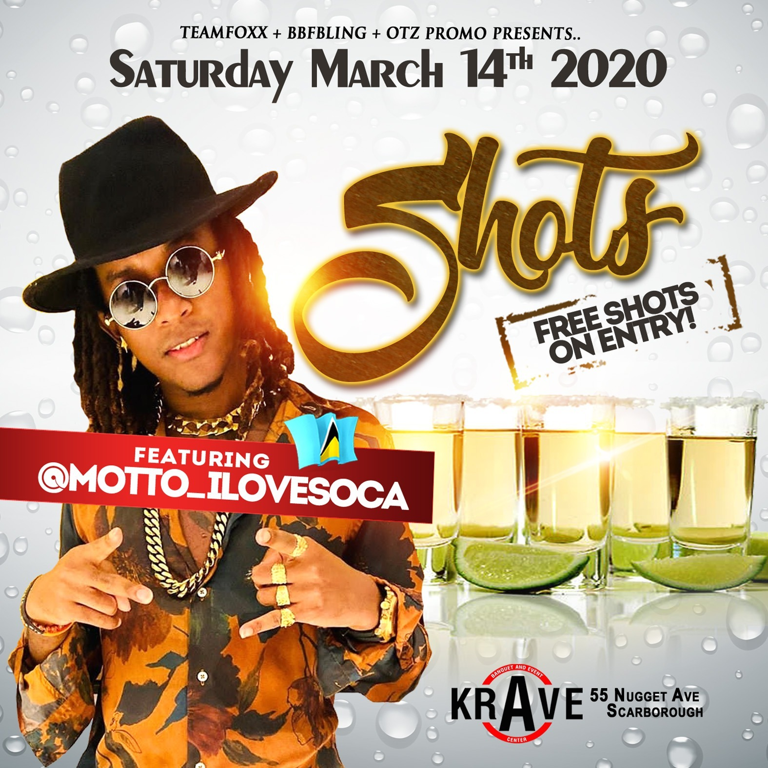 THE SHOTS PARTY - MOTTO CONCERT - FREE SHOTS ON ENTRY + FREE GIVEAWAYS (SCARBOROUGH, TORONTO)