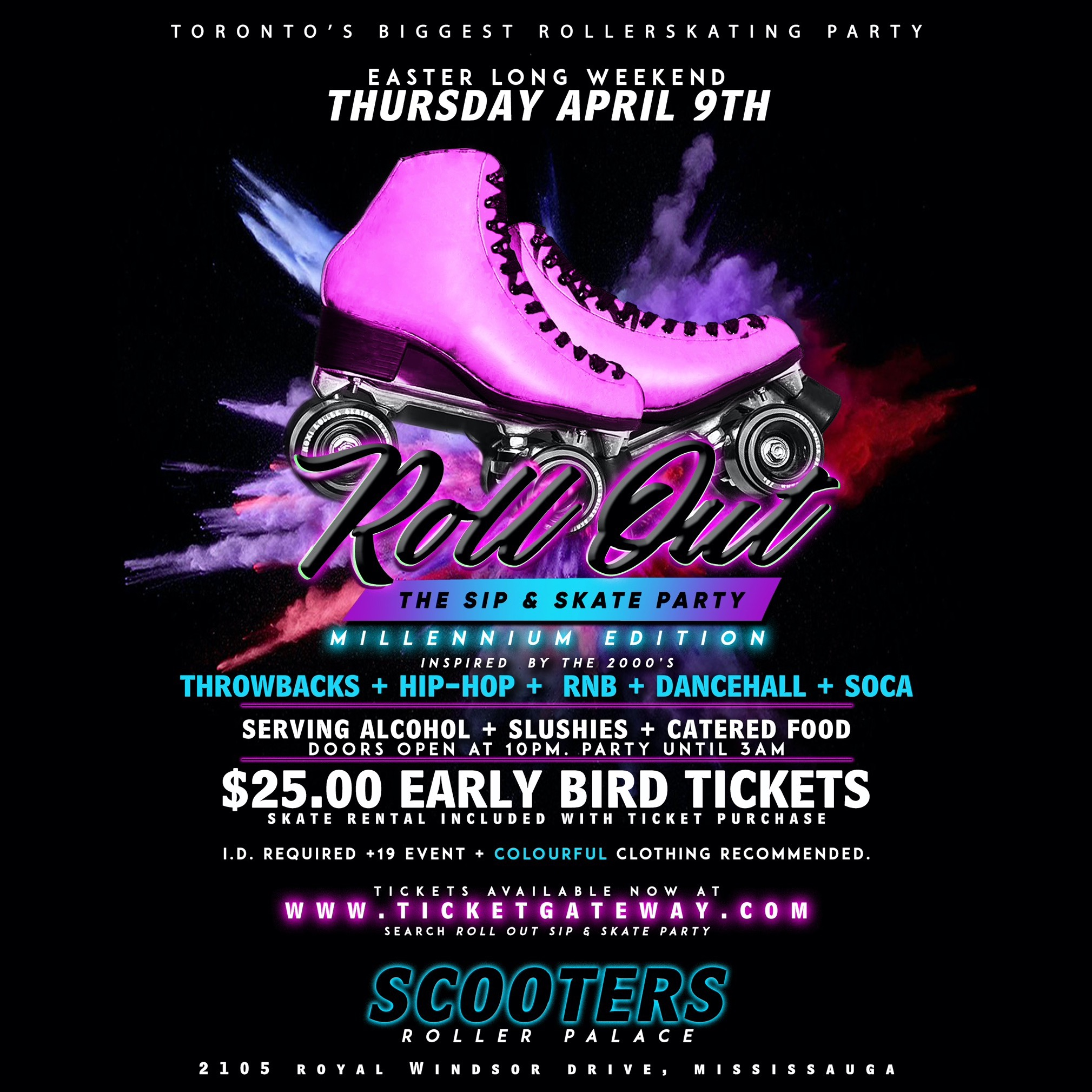 ROLL OUT - The Sip & Skate Party - Millennium Edition