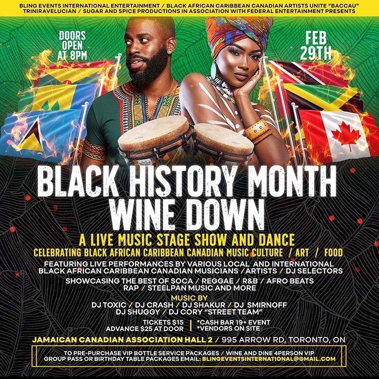 "Black African Caribbean Canadian Artists Unite Black History Month ""Wine Down"""