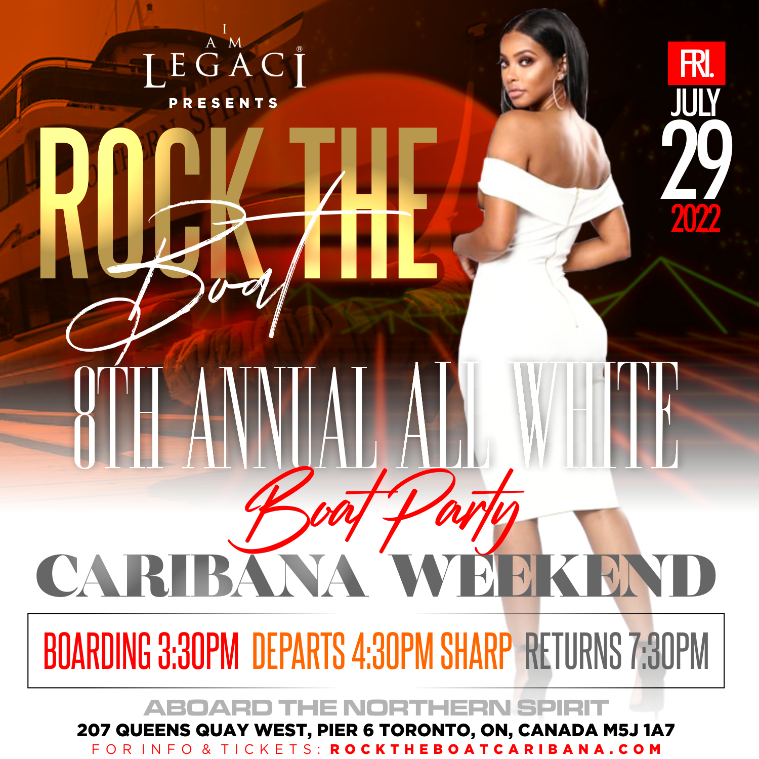 ROCK THE BOAT • 8th ANNUAL ALL WHITE BOAT PARTY • TORONTO CARIBANA 2022
