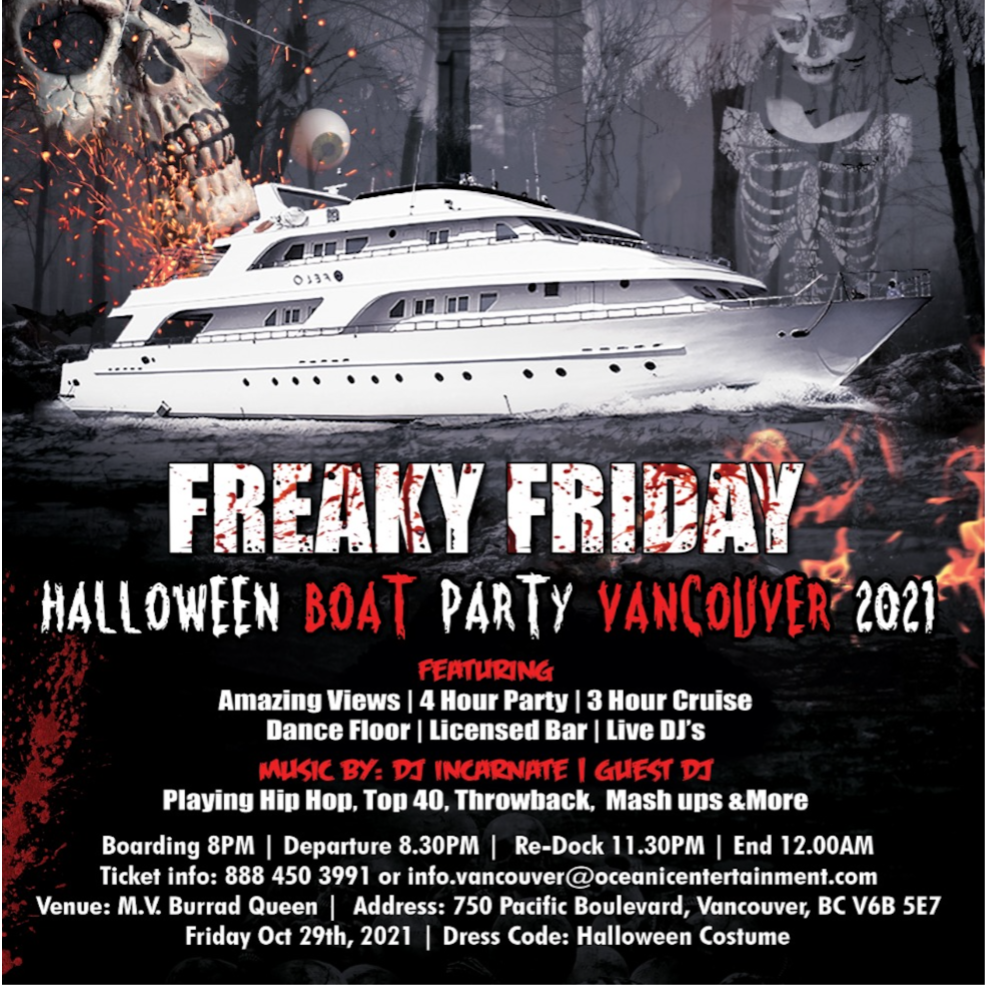 Freaky Friday Halloween Boat Party Vancouver 2021