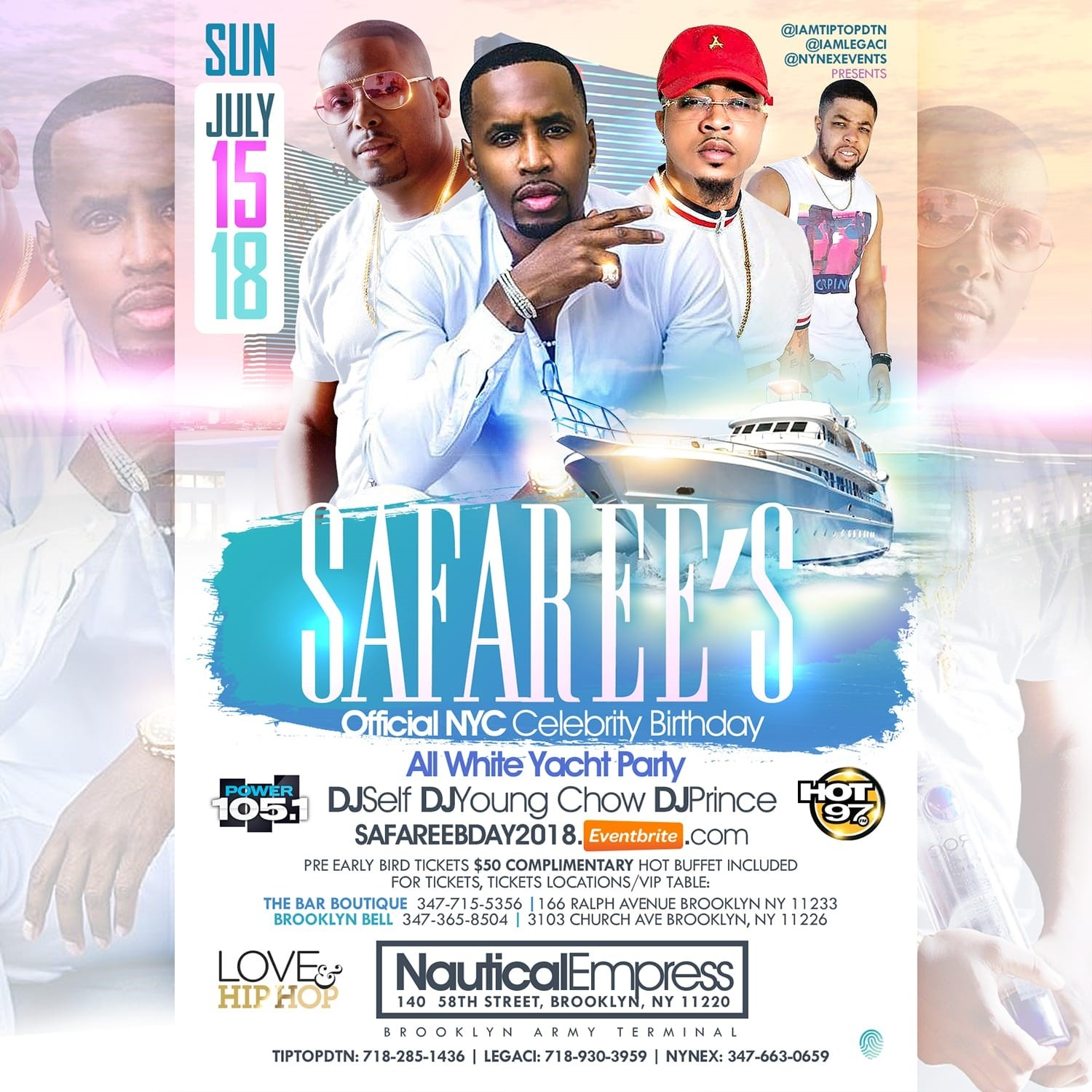 SAFAREE'S NYC CELEBRITY BIRTHDAY ALL WHITE YACHT PARTY