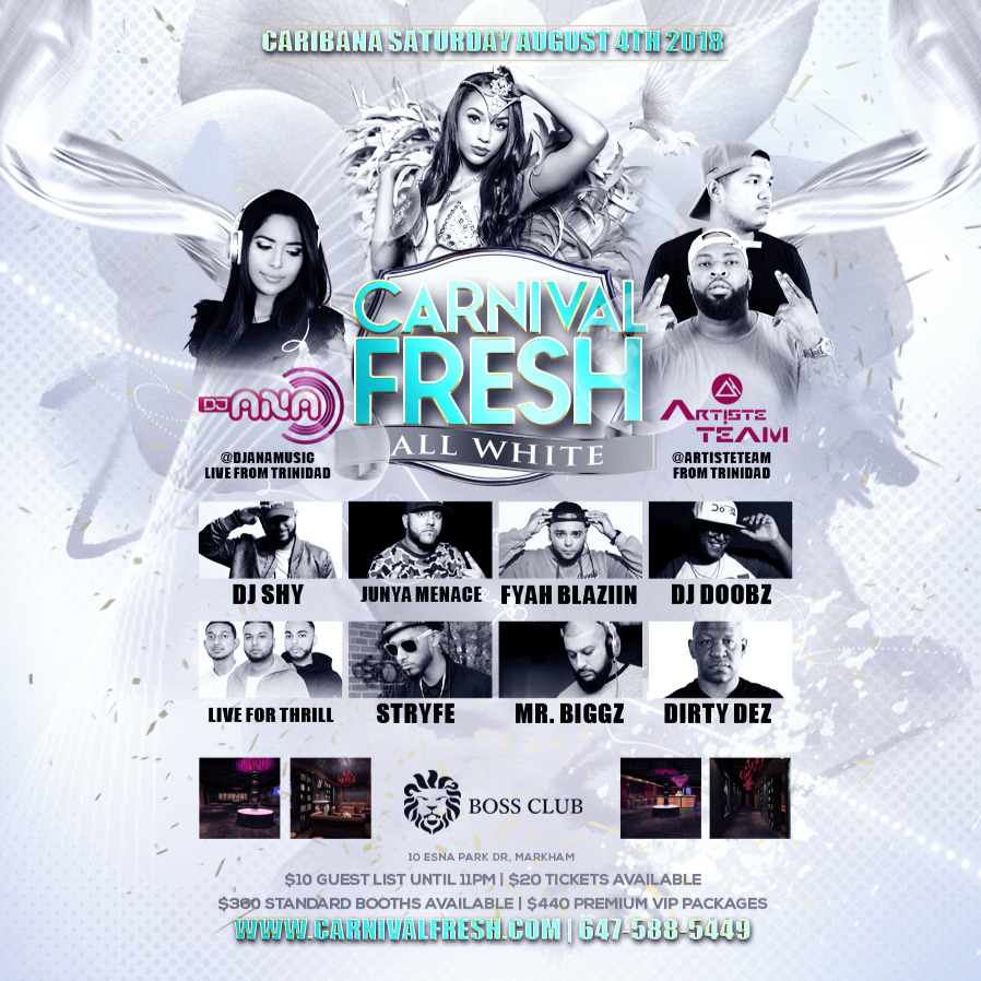 CARNIVAL FRESH ALL WHITE | Caribana Saturday August 4th Inside BOSS