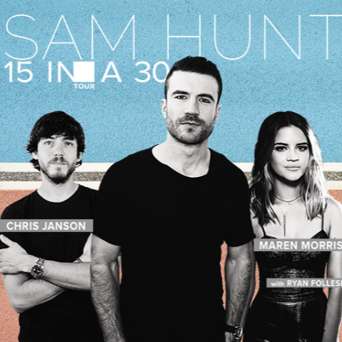 Sam Hunt 15 In A 30 Tour at Budweiser Stage