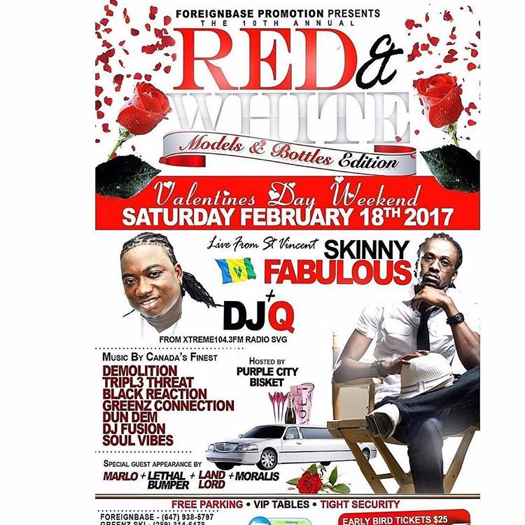 RED AND WHITE FEATURUING LIVE OUT OF ST VINCENT SKINNY FABULOUS AND DJ Q