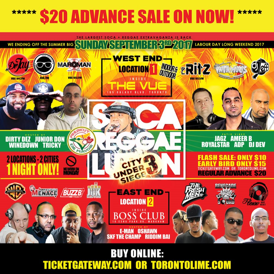 SOCA REGGAELUTION LABOUR DAY EAST