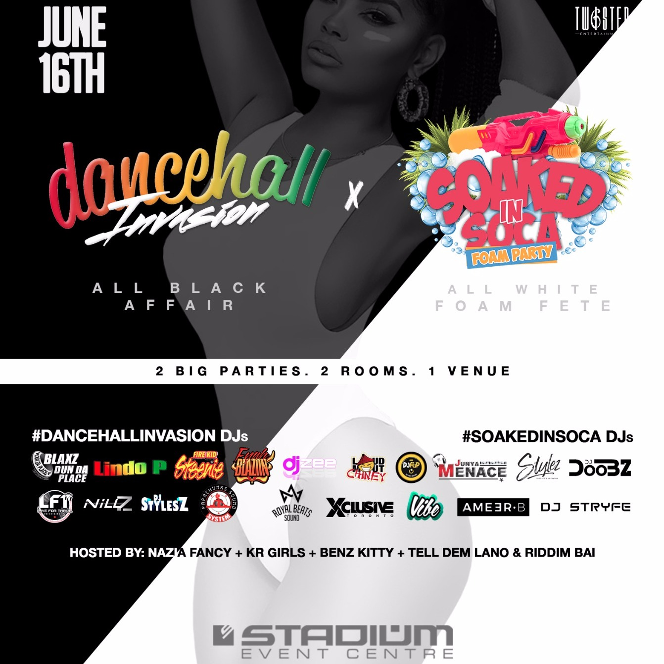 Dancehall Invasion: All Black Affair  x Soaked In Soca: All White FOAM Fete