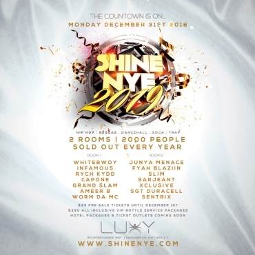 SHINE NYE 2019 Inside Luxy Nightclub