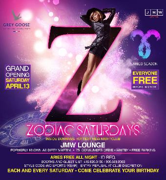 ZODIAC SATURDAYS @ JMW LOUNGE IN WHITBY