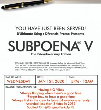 Subpoena V - The Friendaversary Edition
