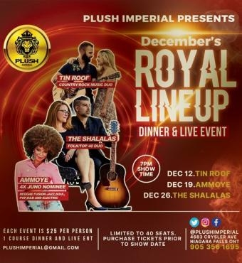 Royal Line up - Dinner and Live Event - TIN ROOF