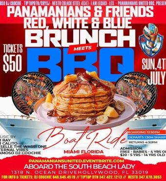 MIAMI INDEPENDENCE DAY 2021 RED, WHITE & BLUE BRUNCH MEETS BBQ BOAT RIDE