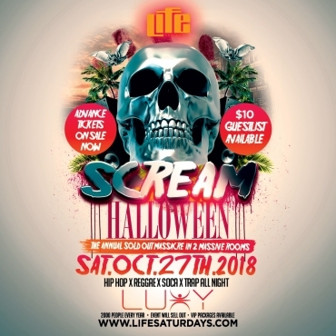 SCREAM - Halloween Saturday Inside Luxy