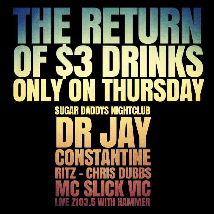 REUNION THURSDAYS $3 DRINKS DR JAY - DJ RITZ LIVE Z1035 HOST SLICK VIC