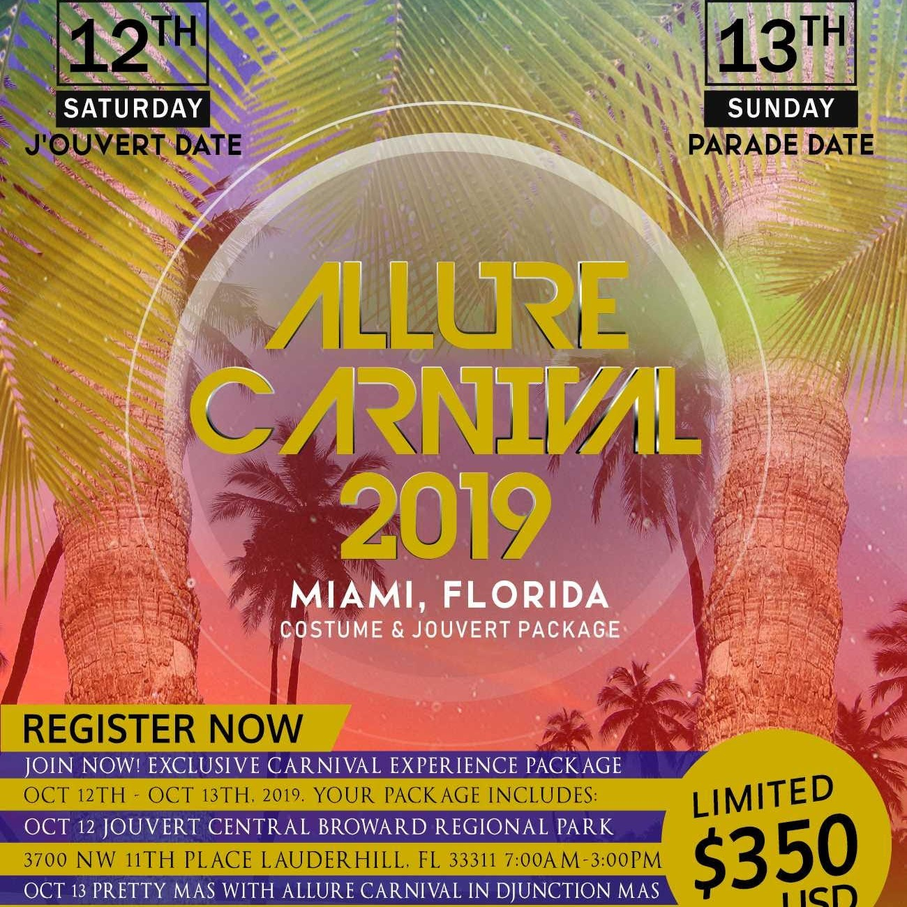 Miami Carnival 2019  Costume l Package l For Miami Broward carnival
